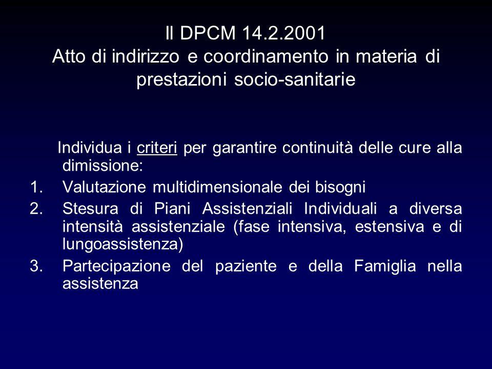 Il DPCM 14.2.2001 Atto di indirizzo e coordinamento in materia di prestazioni socio-sanitarie Individua i criteri per garantire continuità delle cure