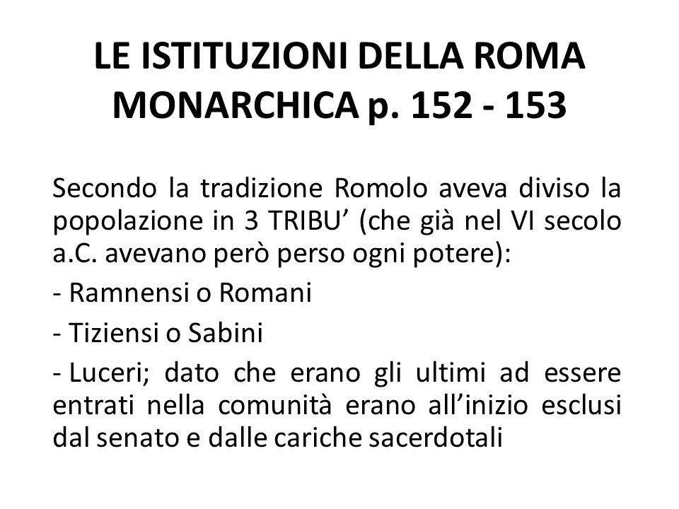 LE ISTITUZIONI DELLA ROMA MONARCHICA p.