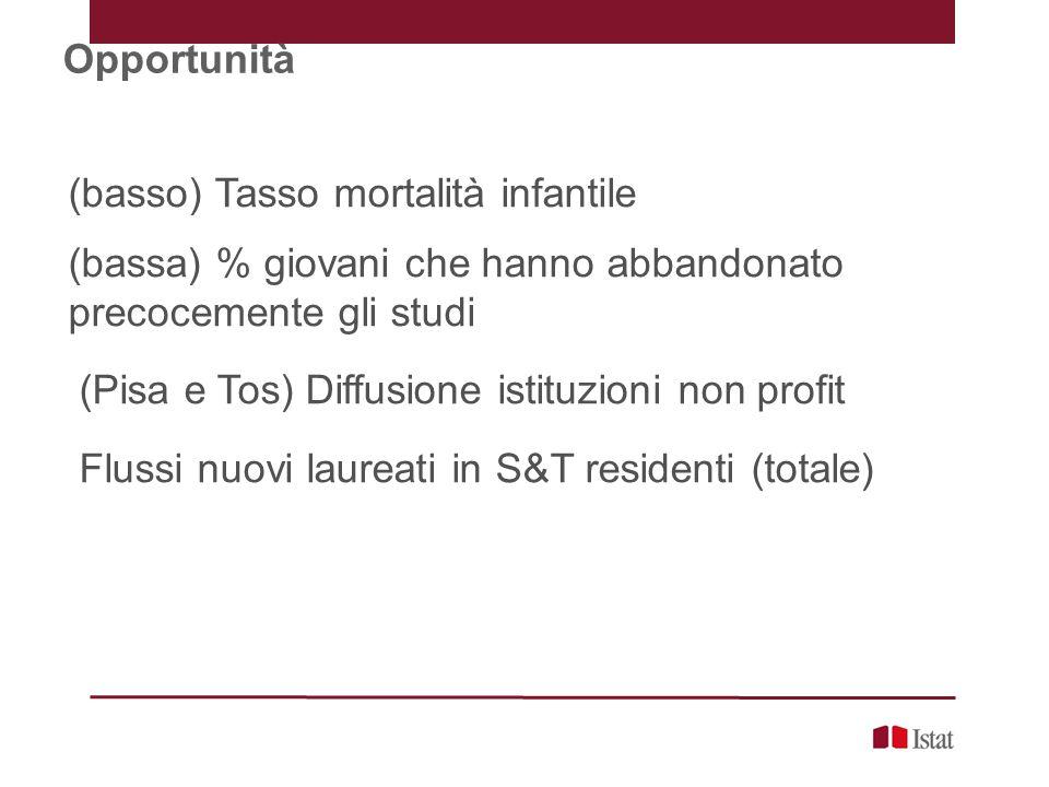 Opportunità (basso) Tasso mortalità infantile (bassa) % giovani che hanno abbandonato precocemente gli studi (Pisa e Tos) Diffusione istituzioni non profit Flussi nuovi laureati in S&T residenti (totale)