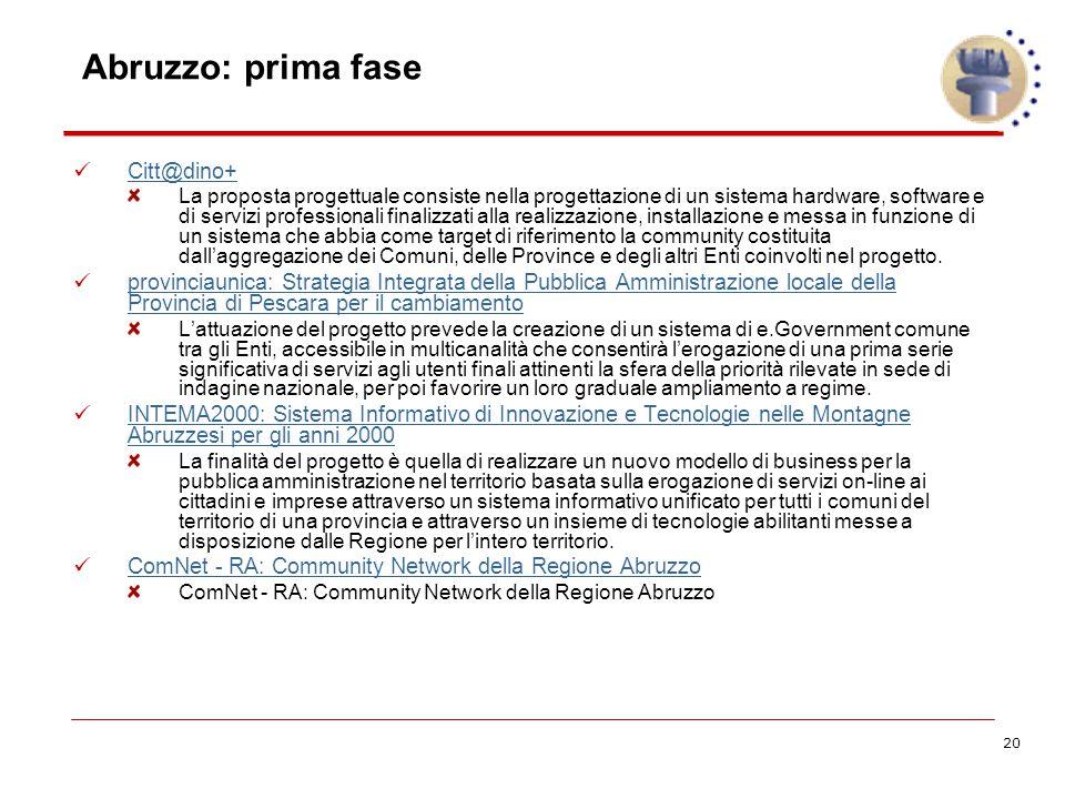 20 Abruzzo: prima fase Citt@dino+ La proposta progettuale consiste nella progettazione di un sistema hardware, software e di servizi professionali finalizzati alla realizzazione, installazione e messa in funzione di un sistema che abbia come target di riferimento la community costituita dall'aggregazione dei Comuni, delle Province e degli altri Enti coinvolti nel progetto.