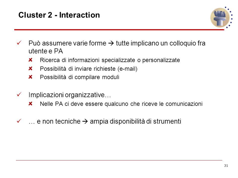 31 Cluster 2 - Interaction Può assumere varie forme  tutte implicano un colloquio fra utente e PA Ricerca di informazioni specializzate o personalizzate Possibilità di inviare richieste (e-mail) Possibilità di compilare moduli Implicazioni organizzative… Nelle PA ci deve essere qualcuno che riceve le comunicazioni … e non tecniche  ampia disponibilità di strumenti