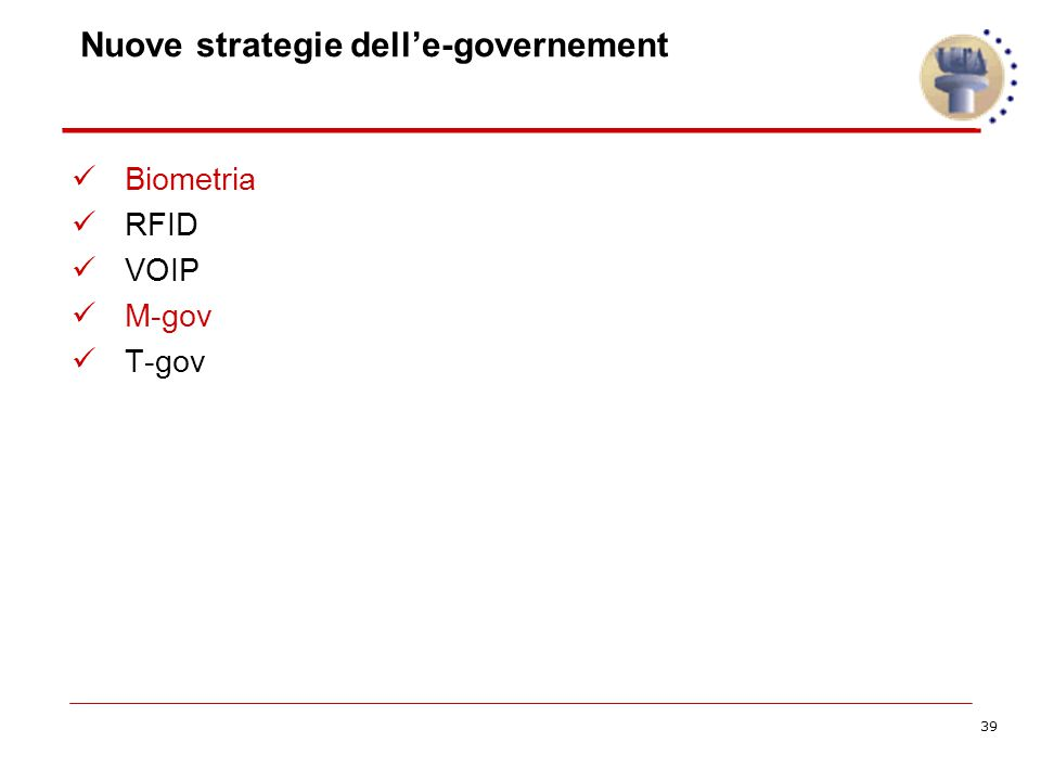 39 Nuove strategie dell'e-governement Biometria RFID VOIP M-gov T-gov