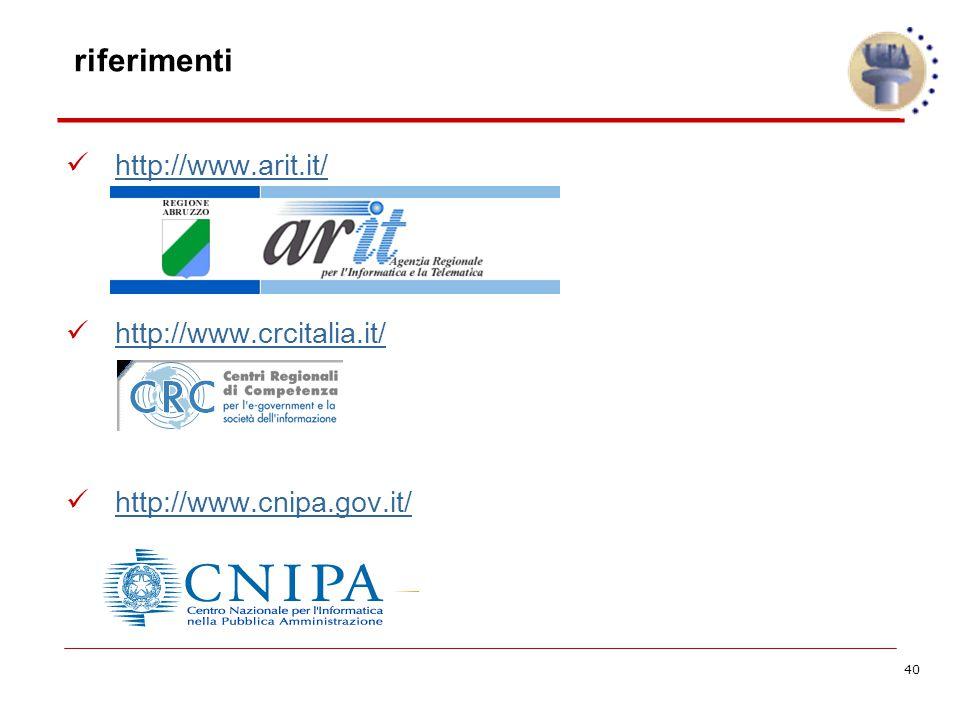 40 riferimenti http://www.arit.it/ http://www.crcitalia.it/ http://www.cnipa.gov.it/