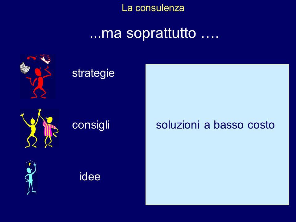 La consulenza...ma soprattutto …. strategie consigli idee soluzioni a basso costo