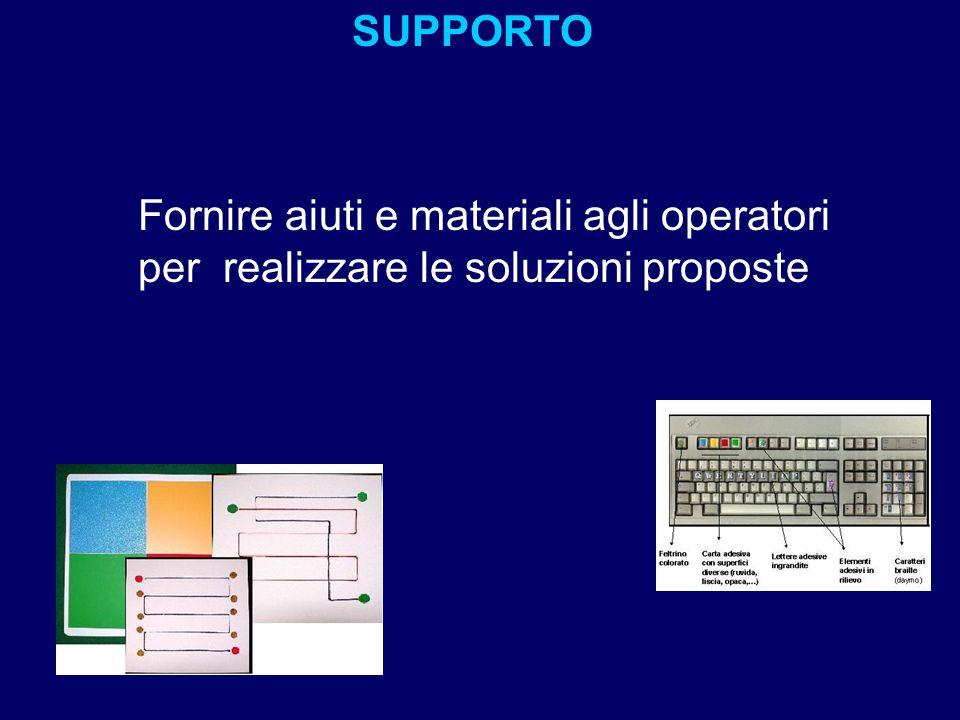 SUPPORTO Fornire aiuti e materiali agli operatori per realizzare le soluzioni proposte