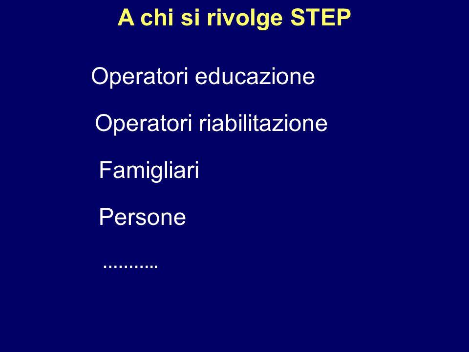 A chi si rivolge STEP Operatori educazione Operatori riabilitazione Famigliari Persone ………..