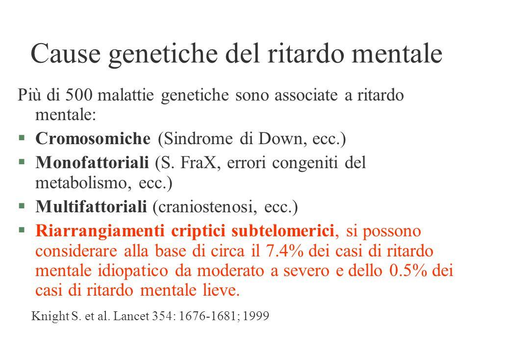 Cause genetiche del ritardo mentale Più di 500 malattie genetiche sono associate a ritardo mentale: §Cromosomiche (Sindrome di Down, ecc.) §Monofattor
