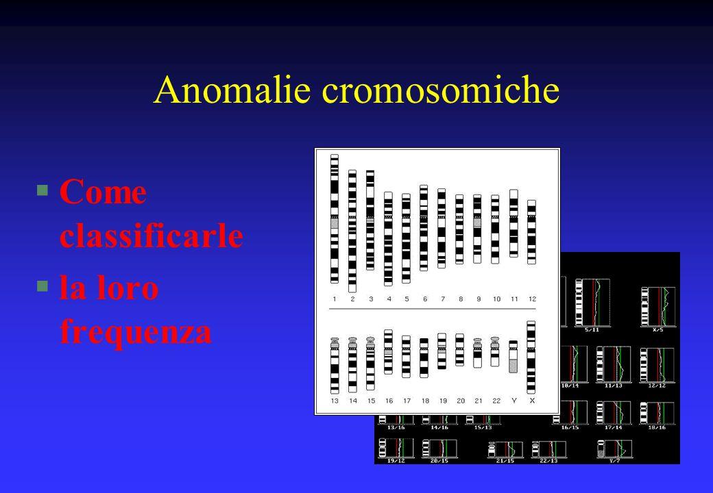 Anomalie cromosomiche §Bilanciate: §nella maggioranza dei casi non sono correlate ad un fenotipo anomalo §Sbilanciate: §sono correlate ad un fenotipo anomalo (malformazioni e/o ritardo mentale)