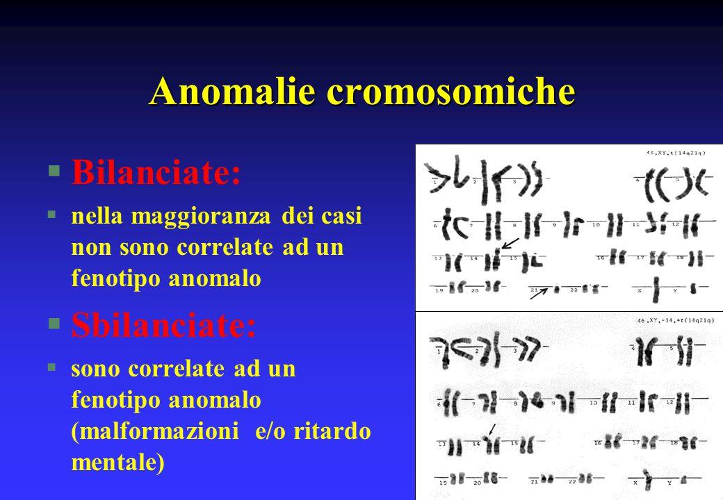 Anomalie cromosomiche §Bilanciate: §nella maggioranza dei casi non sono correlate ad un fenotipo anomalo §Sbilanciate: §sono correlate ad un fenotipo