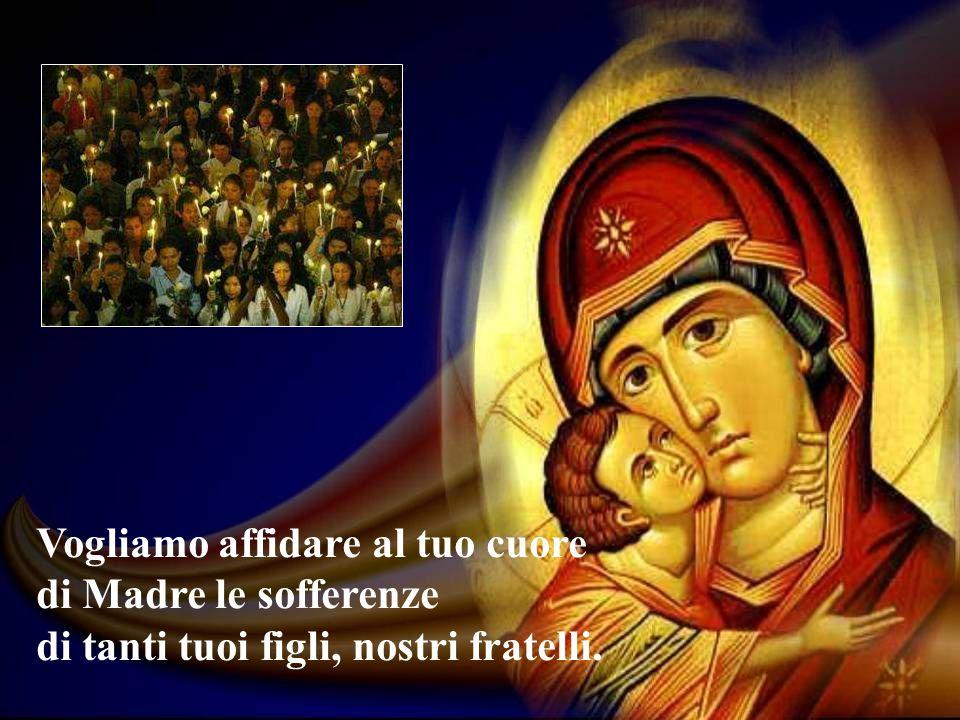 Vogliamo affidare al tuo cuore di Madre le sofferenze di tanti tuoi figli, nostri fratelli.