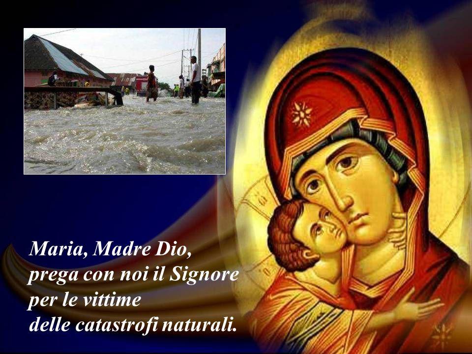 Maria, Madre Dio, prega con noi il Signore per le vittime delle catastrofi naturali.