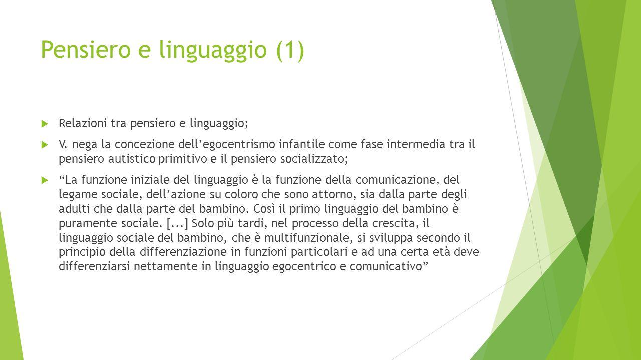 Pensiero e linguaggio (1)  Relazioni tra pensiero e linguaggio;  V. nega la concezione dell'egocentrismo infantile come fase intermedia tra il pens