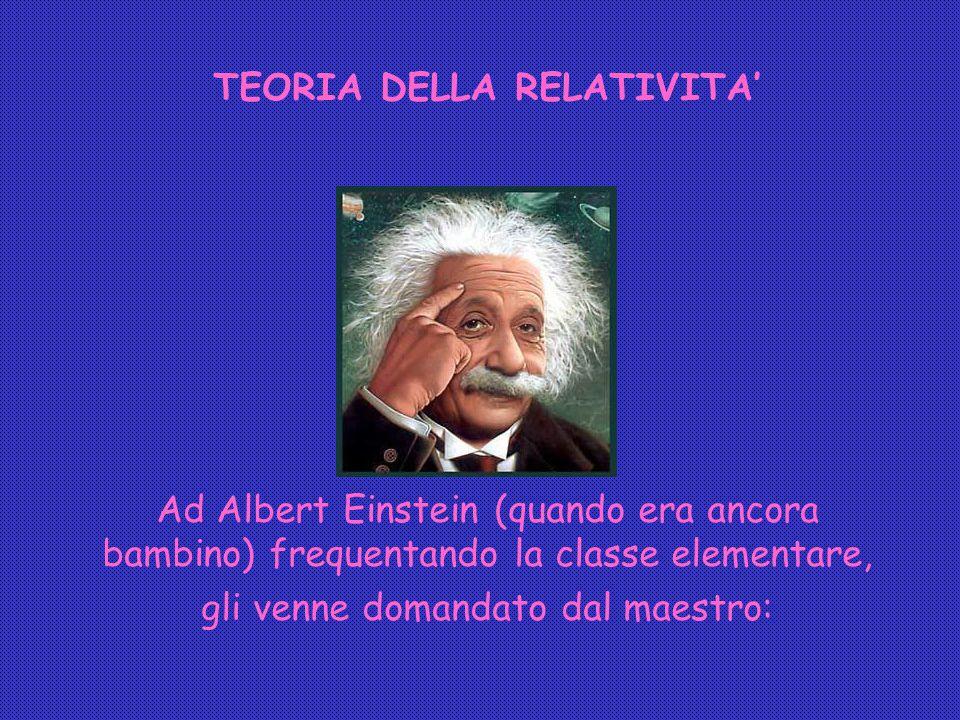 TEORIA DELLA RELATIVITA' Ad Albert Einstein (quando era ancora bambino) frequentando la classe elementare, gli venne domandato dal maestro: