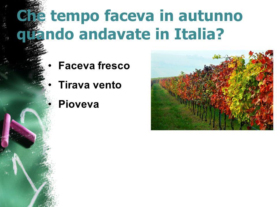 Che tempo faceva in autunno quando andavate in Italia? Faceva fresco Tirava vento Pioveva
