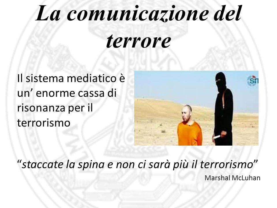"""La comunicazione del terrore """"staccate la spina e non ci sarà più il terrorismo"""" Marshal McLuhan Il sistema mediatico è un' enorme cassa di risonanza"""