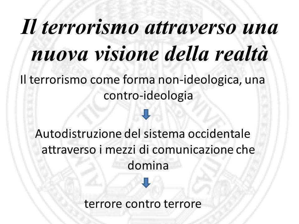 Il terrorismo attraverso una nuova visione della realtà Il terrorismo come forma non-ideologica, una contro-ideologia Autodistruzione del sistema occi