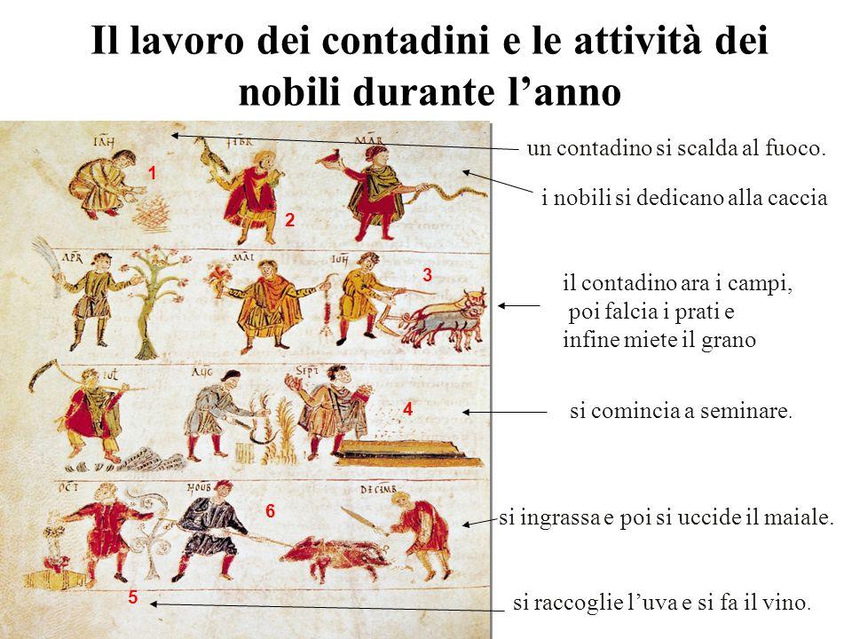 Il lavoro dei contadini e le attività dei nobili durante l'anno 1 2 3 4 6 5 un contadino si scalda al fuoco. i nobili si dedicano alla caccia il conta