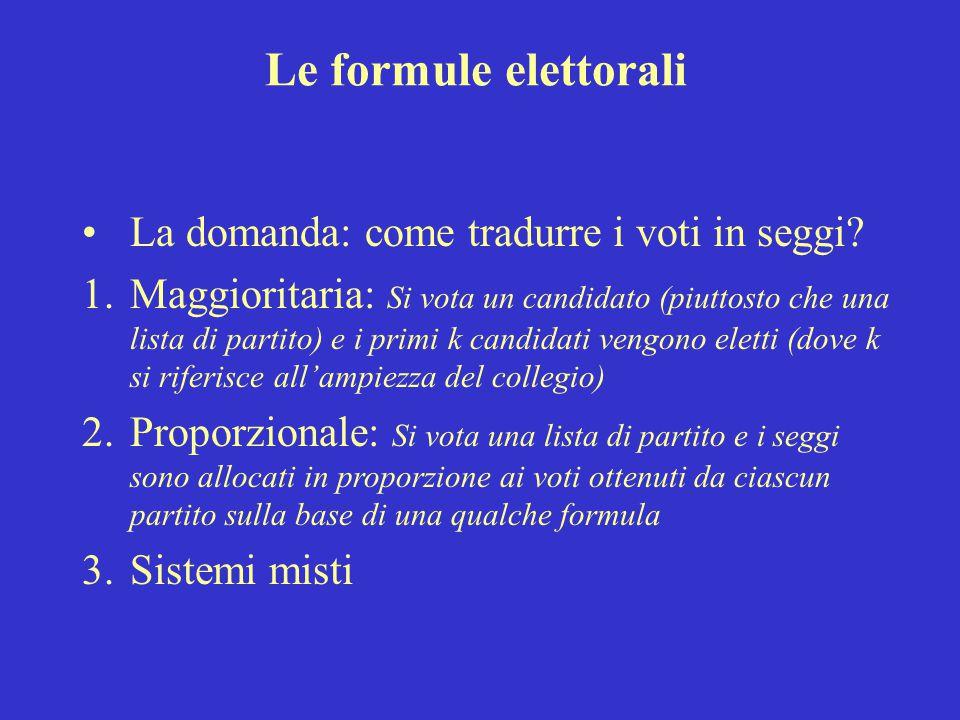 Le formule elettorali La domanda: come tradurre i voti in seggi.