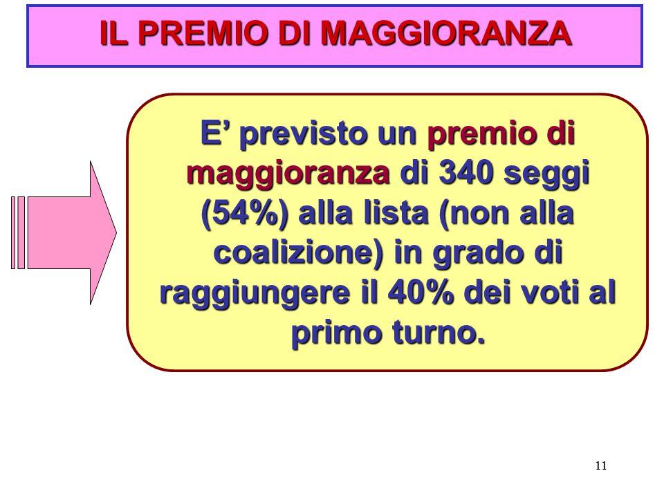 11 IL PREMIO DI MAGGIORANZA E' previsto un premio di maggioranza di 340 seggi (54%) alla lista (non alla coalizione) in grado di raggiungere il 40% dei voti al primo turno.