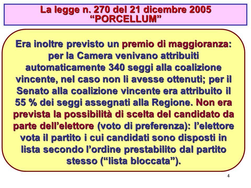 444 Era inoltre previsto un premio di maggioranza: per la Camera venivano attribuiti automaticamente 340 seggi alla coalizione vincente, nel caso non li avesse ottenuti; per il Senato alla coalizione vincente era attribuito il 55 % dei seggi assegnati alla Regione.