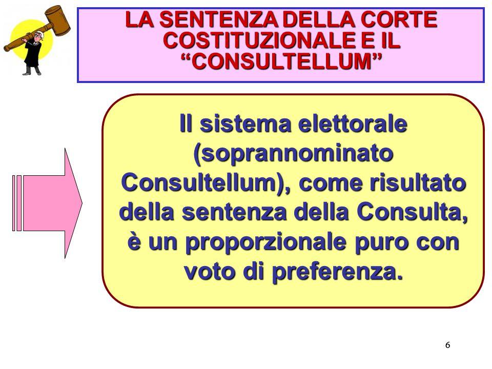 666 Il sistema elettorale (soprannominato Consultellum), come risultato della sentenza della Consulta, è un proporzionale puro con voto di preferenza.