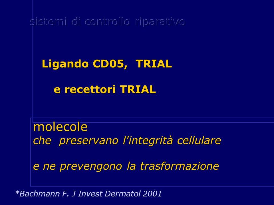 Ligando CD05, TRIAL Ligando CD05, TRIAL e recettori TRIAL e recettori TRIAL *Bachmann F. J Invest Dermatol 2001 molecole che preservano l'integrità ce