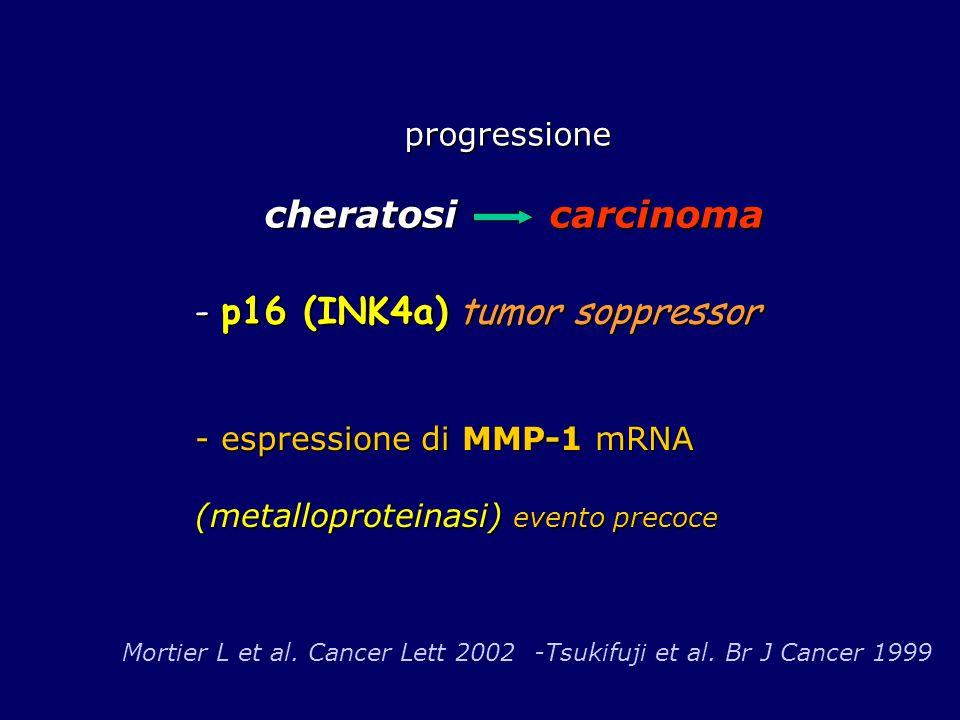 progressione cheratosi carcinoma progressione cheratosi carcinoma Mortier L et al. Cancer Lett 2002 -Tsukifuji et al. Br J Cancer 1999 - p16 (INK4a) t