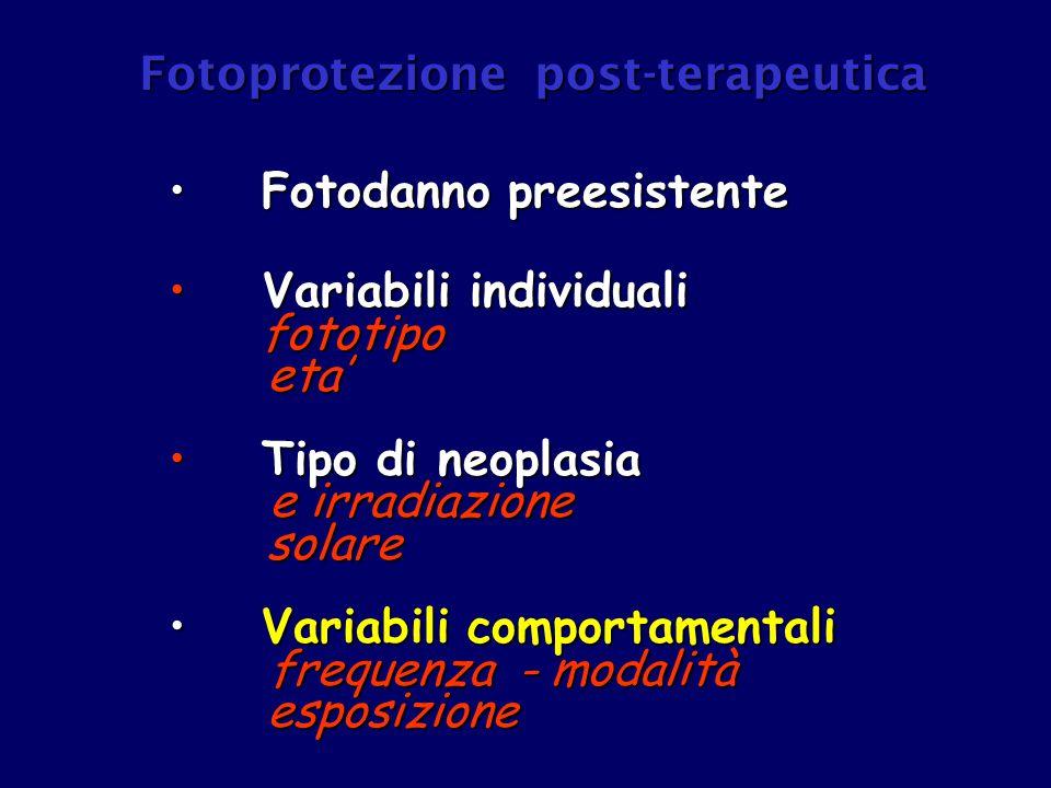 Fotodanno preesistente Fotodanno preesistente Variabili individuali fototipo Variabili individuali fototipo eta' eta' Tipo di neoplasia Tipo di neopla