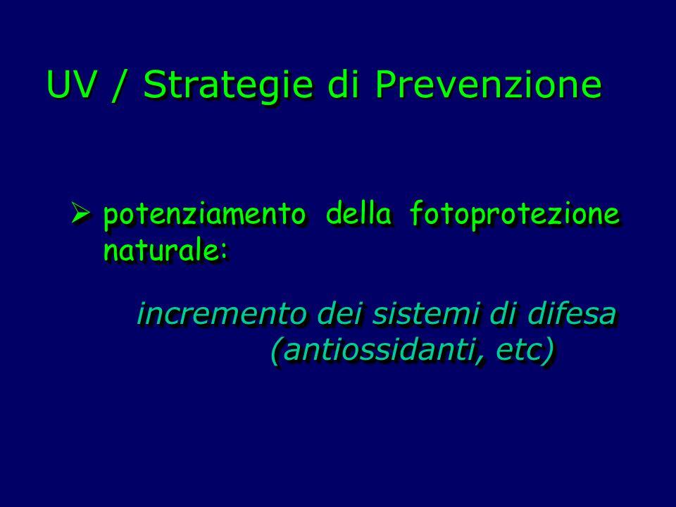 Strategie UV / Strategie di Prevenzione  potenziamento della fotoprotezione naturale: incremento dei sistemi di difesa (antiossidanti, etc) (antiossi