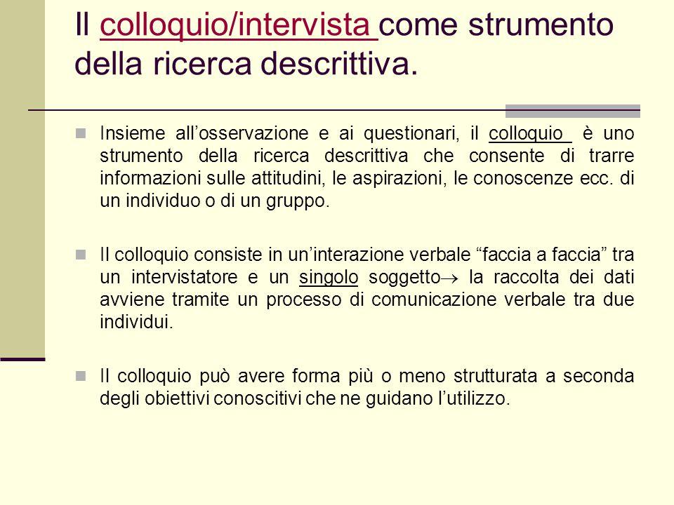 Il colloquio/intervista come strumento della ricerca descrittiva.colloquio/intervista Insieme all'osservazione e ai questionari, il colloquio è uno st