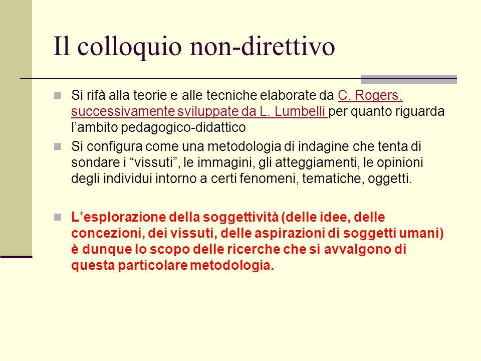 Il colloquio non-direttivo Si rifà alla teorie e alle tecniche elaborate da C. Rogers, successivamente sviluppate da L. Lumbelli per quanto riguarda l