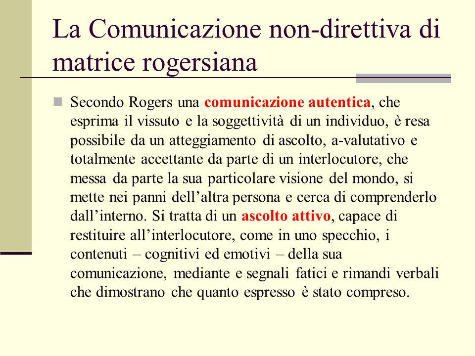 La Comunicazione non-direttiva di matrice rogersiana Secondo Rogers una comunicazione autentica, che esprima il vissuto e la soggettività di un indivi
