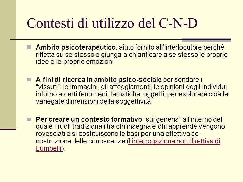 Contesti di utilizzo del C-N-D Ambito psicoterapeutico: aiuto fornito all'interlocutore perché rifletta su se stesso e giunga a chiarificare a se stes