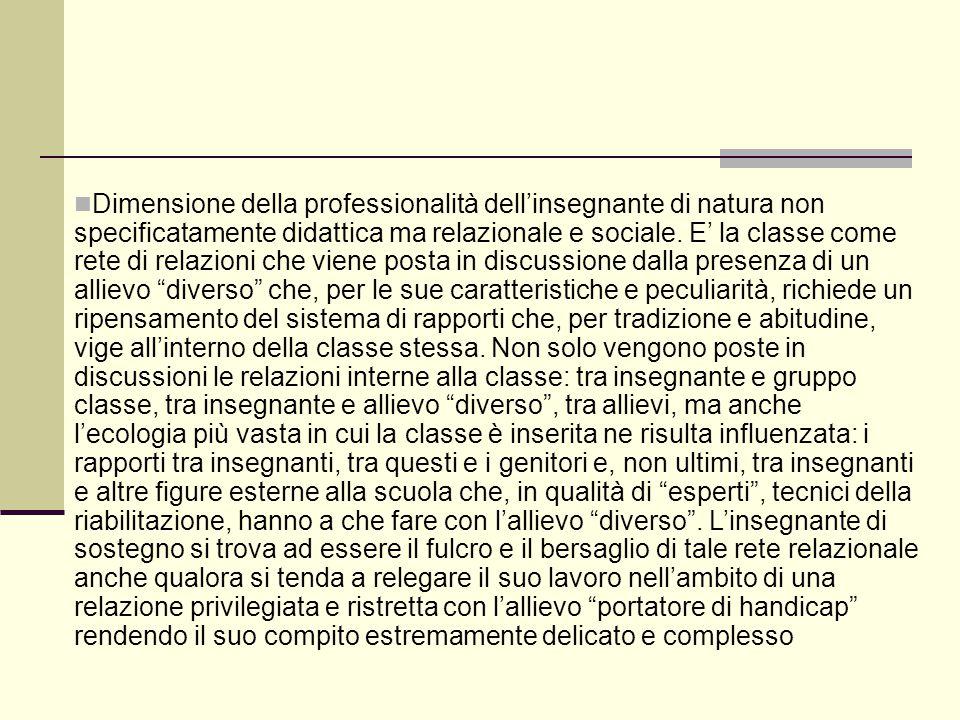 Dimensione della professionalità dell'insegnante di natura non specificatamente didattica ma relazionale e sociale. E' la classe come rete di relazion