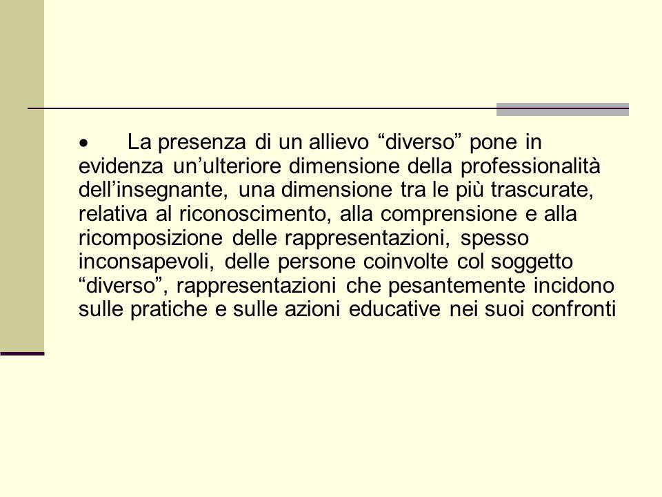 """ La presenza di un allievo """"diverso"""" pone in evidenza un'ulteriore dimensione della professionalità dell'insegnante, una dimensione tra le più trascu"""