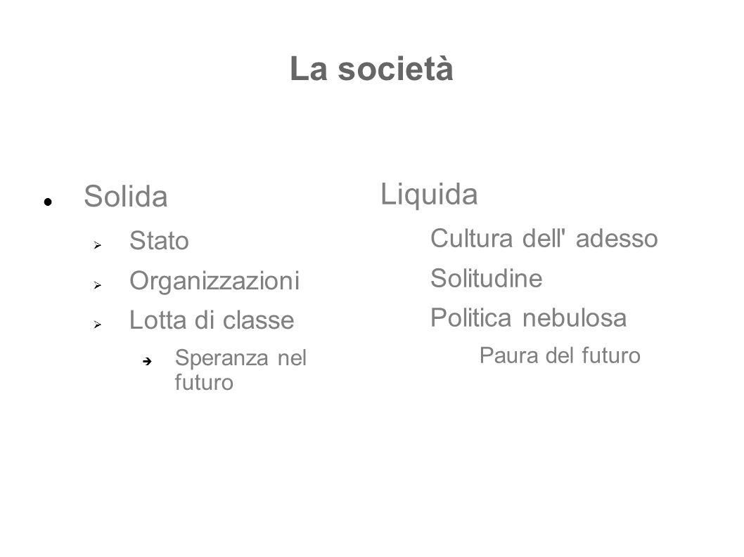 La società Solida  Stato  Organizzazioni  Lotta di classe  Speranza nel futuro Liquida Cultura dell' adesso Solitudine Politica nebulosa Paura del