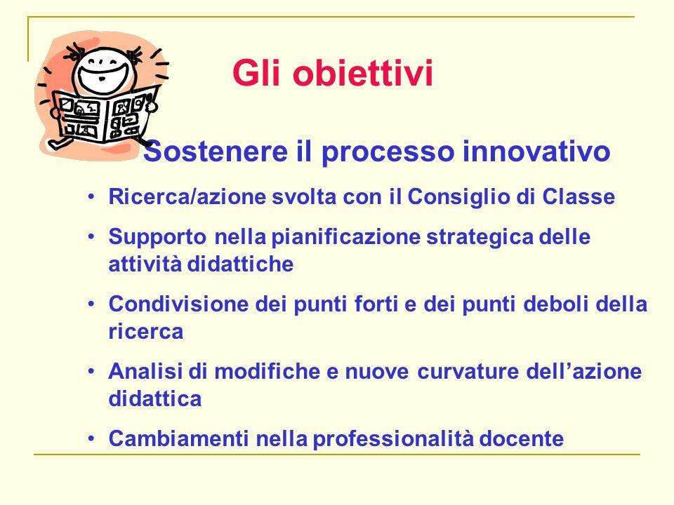 Gli obiettivi Sostenere il processo innovativo Ricerca/azione svolta con il Consiglio di Classe Supporto nella pianificazione strategica delle attivit