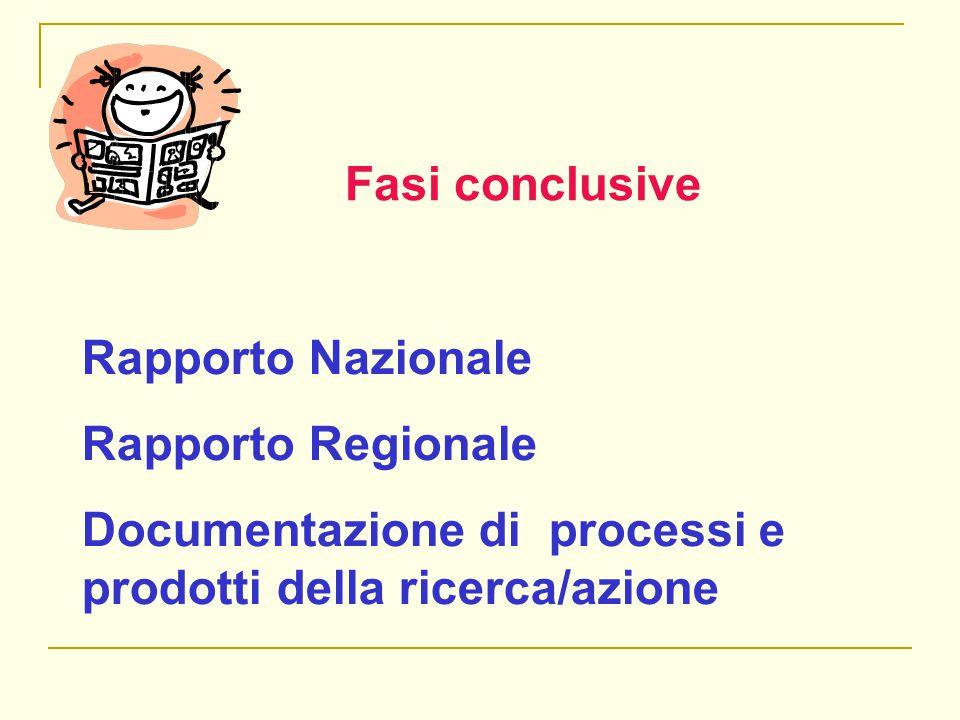 Fasi conclusive Rapporto Nazionale Rapporto Regionale Documentazione di processi e prodotti della ricerca/azione