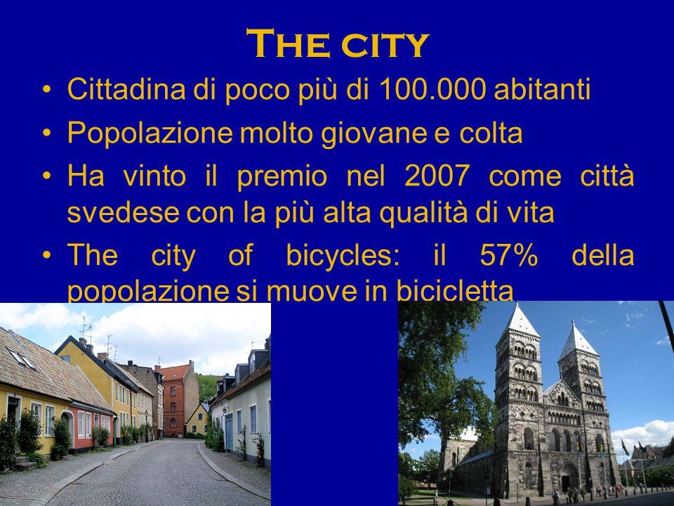 The city Cittadina di poco più di 100.000 abitanti Popolazione molto giovane e colta Ha vinto il premio nel 2007 come città svedese con la più alta qu