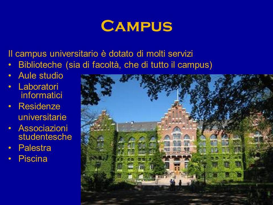 Campus Il campus universitario è dotato di molti servizi Biblioteche (sia di facoltà, che di tutto il campus) Aule studio Laboratori informatici Residenze universitarie Associazioni studentesche Palestra Piscina