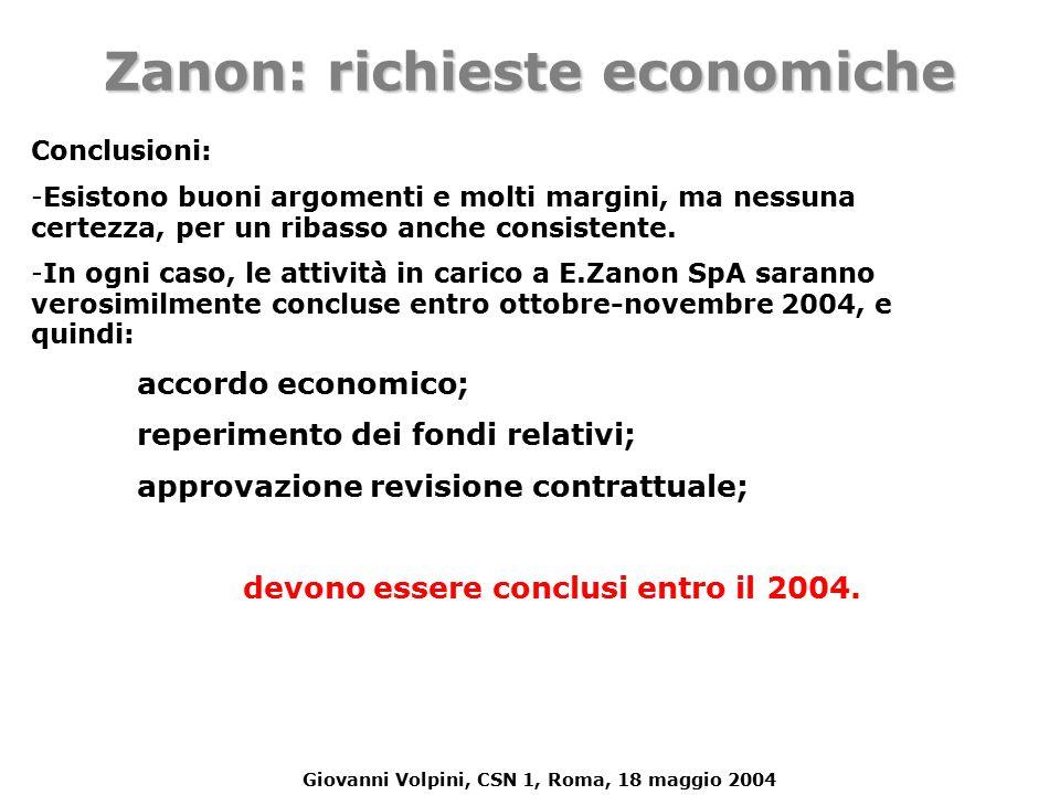 Giovanni Volpini, CSN 1, Roma, 18 maggio 2004 Conclusioni: - -Esistono buoni argomenti e molti margini, ma nessuna certezza, per un ribasso anche consistente.