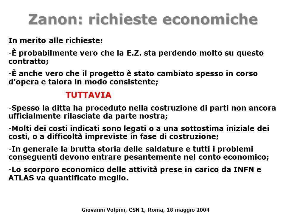 Giovanni Volpini, CSN 1, Roma, 18 maggio 2004 In merito alle richieste: - -È probabilmente vero che la E.Z.