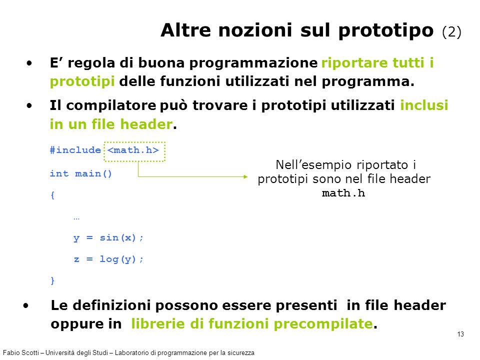 Fabio Scotti – Università degli Studi – Laboratorio di programmazione per la sicurezza 13 Altre nozioni sul prototipo (2) E' regola di buona programmazione riportare tutti i prototipi delle funzioni utilizzati nel programma.