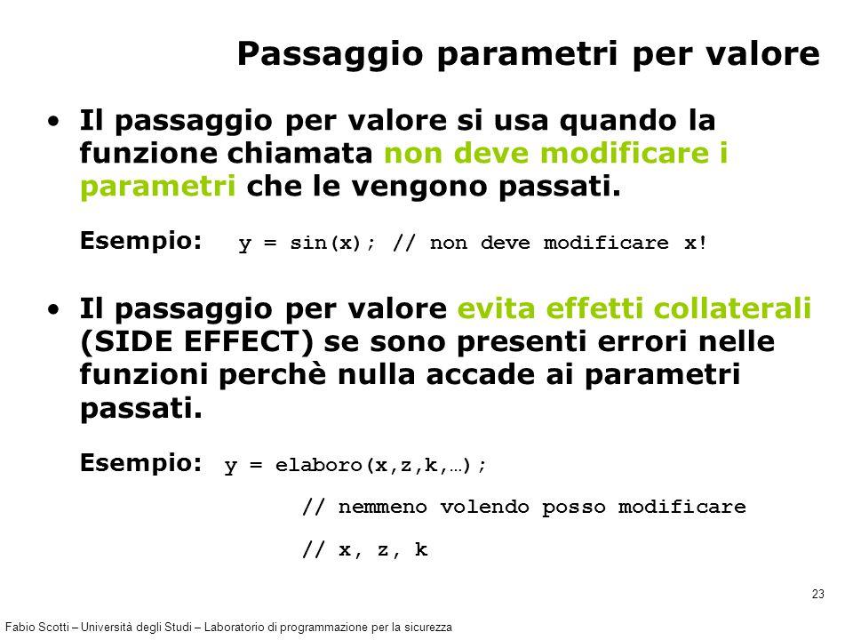 Fabio Scotti – Università degli Studi – Laboratorio di programmazione per la sicurezza 23 Passaggio parametri per valore Il passaggio per valore si usa quando la funzione chiamata non deve modificare i parametri che le vengono passati.
