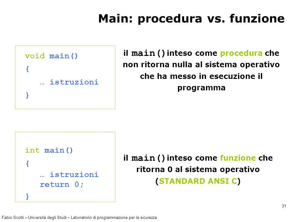 Fabio Scotti – Università degli Studi – Laboratorio di programmazione per la sicurezza 31 Main: procedura vs.