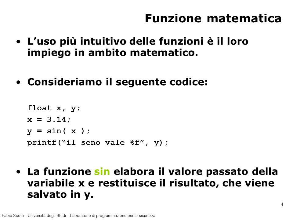 Fabio Scotti – Università degli Studi – Laboratorio di programmazione per la sicurezza 15 tipo_Del_Valore_Ritornato nome_Della_Funzione( lista_Dei_Parametri ) { dichiarazioni istruzioni } /* fine della funzione */ Struttura della definizione La definizione di una funzione deve essere composta nel seguente modo: intestazione