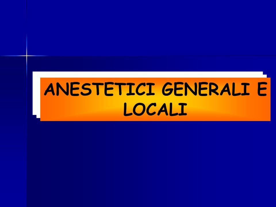 Anestetici generali Farmaci che producono nel paziente perdita della sensibilità e della coscienza e provocano un rilassamento muscolare tale da consentire l'esecuzione di interventi chirurgici
