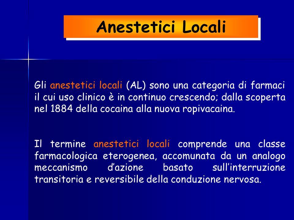 Anestetici Locali Gli anestetici locali (AL) sono una categoria di farmaci il cui uso clinico è in continuo crescendo; dalla scoperta nel 1884 della c