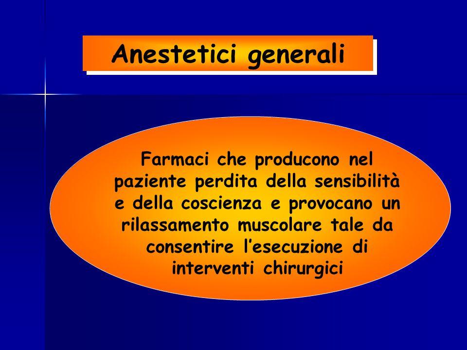 Anestetici generali Farmaci che producono nel paziente perdita della sensibilità e della coscienza e provocano un rilassamento muscolare tale da conse