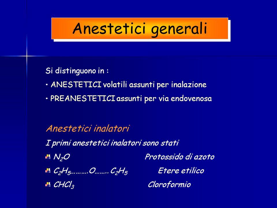 Anestetici generali Si distinguono in : ANESTETICI volatili assunti per inalazione PREANESTETICI assunti per via endovenosa Anestetici inalatori I pri